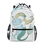 Cute Kawaii Sirena con zaino scuola balena per ragazzi ragazze bambini borsa da viaggio Bookbag