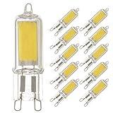 10 x LED COB Stiftsockel Leuchtmittel 2W = 20W G9 klar Glas warmweiß 2700K Retrofit (10 Stück)