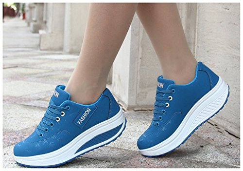 NEWZCERS Chaussures de course pour dames Chaussures de sport Chaussures athlétiques lacées chaussures de gym Bleu