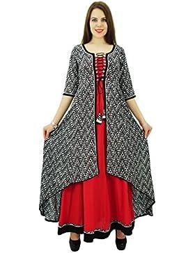 Phagun de mujeres de origen patrón sólido diseñador Anarkali Kurti Top Rayón vestido de la túnica