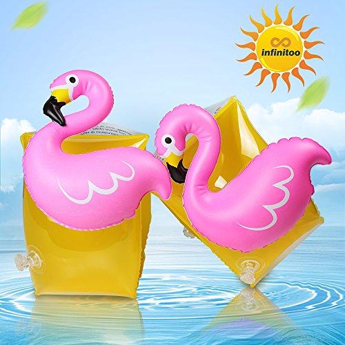 infinitoo Kinder Schwimmflügel Süße Flamingo Figur Schwimmhilfe für Baby Jungen Mädchen | auf Pool Party Strand Wasserpark im Sommer | Super Geschenk im Kindertag Wasserspielzeug | Schwimmen Halter