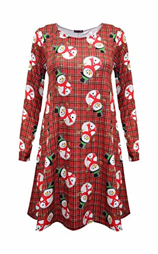 Comfiestyle - Robe - Patineuse - Manches Longues - Femme Red Snowman Tartan Check