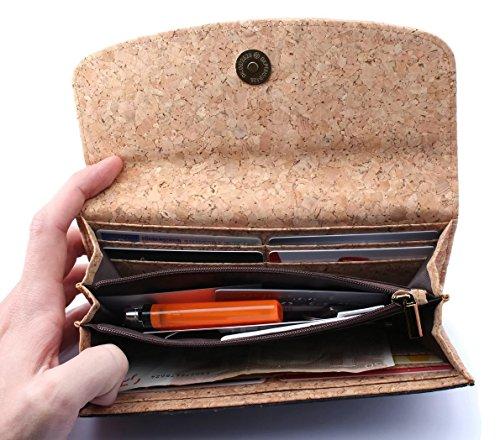 ECOVE - hochwertige und elegante Kork Damengeldbörse, Portemonnaie, Geldbörse mit vielen Fächern, Größe: 19cm x 10cm - 4