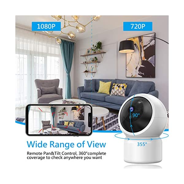 """Baby Camera 1080P IP Camera, JUMPER WLAN Security Camera Pan/Tilt ONVIF IP Cam P2P Network Camera Baby Monitor 2 Way Audio IR-Cut Night Vision Motion Detection Jumper 【 JUMPER 1080P WIFI Baby Cam 】 -- Built-in WiFi module, supports 802.11b / g (supports only 2.4G, no 5G WIFI). Standard H.264 video compression. Network settings through the APP """"YCC365 Plus"""", supports iOS and Android Smartphone/Tablet PC. 【 2,0 Megapixel CMOS Sensor & Intelligent Tracking】 -- Pan:355°/ Tilt:120° , ; Maximum image resolution up to 1080P. This IP camera can recognize people and follow their movement to keep monitor . 【 2 Way Audio & Alarm detection】 --The baby monitor supports 2 way audio (built-in mic & speaker) and micro SD card up to 128G (card is not included). The WiFi IP Camera supports motion detection alarm, push notification alarm, whistle alarm. 3"""
