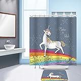 Nibesser Einhorn Dicker Duschvorhang 100g/m² Anti-Schimmel Waschbarer Textil Badewannenvorhang Digitaldruck inkl. 12 Hacken für Badezimmer (150cmx180cm)