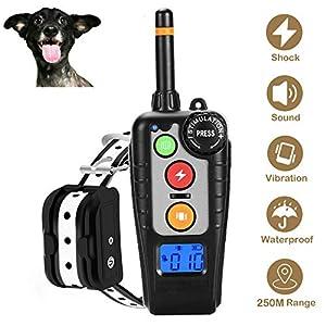 xuehaostore Collier de Dressage pour Chien, Collier Anti Aboiement avec Télécommande de 250 Mètres Récepteur Étanche IPX7 Rechargeable avec 4 Modes Vibration/SK/Beep Sonore/lumière