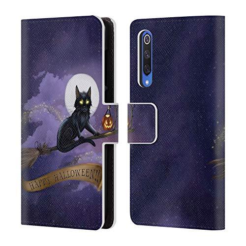 Head Case Designs Offizielle Ash Evans Happy Halloween Schwarze Katzen Leder Brieftaschen Huelle kompatibel mit Xiaomi Mi 9 SE