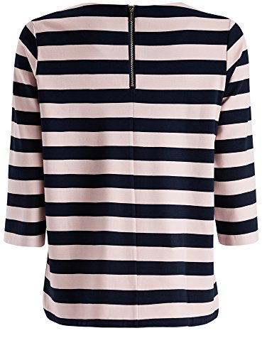 oodji Collection Donna T-Shirt a Righe con Maniche a 3/4 e Cerniere Decorative Blu (7941S)