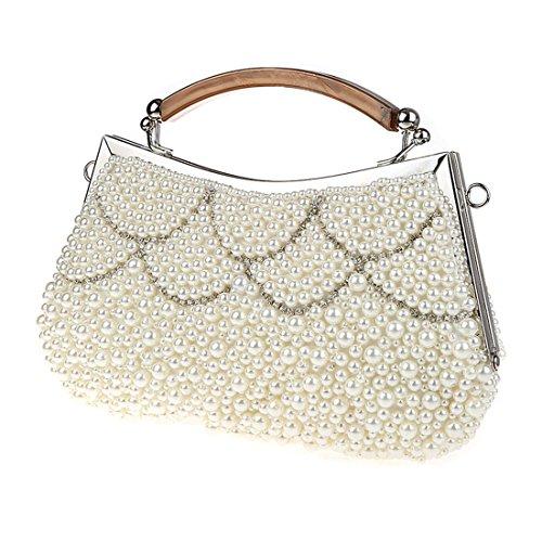 KAXIDY Borsa Pochette Borsa Sacchetto Cerimonia Perline Perle Donne Eleganti Pochette Sera Spalla Bianco-B