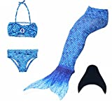 Kidssky Kids Girls Mermaid Tails Swimwear Sets with Monofin 4 Pcs Bikini Sets for Swimming (110cm/4-5 Years, Sky Blue)