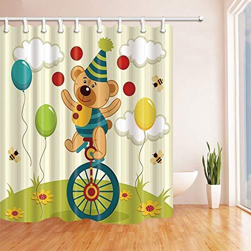 Nyngei Tragen Sie wie Clown auf dem Fahrrad mit Ballon Kids Duschvorhang beständiger Polyester Stoff Dekorationen 180X180CM