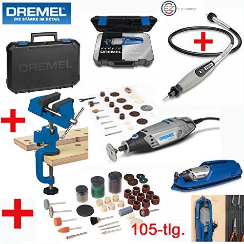 DREMEL Multitool 3000 25 Set - inklusive 25 DREMEL Zubehörteile, DREMEL Biegsame Welle, DREMEL Profi-Koffer mit herausnehmbaren Zubehöreinsatz, DREMEL Gerätehalter, 105-tlg. SILVERLINE Zubehörset und SILVERLINE Winkelverstellbarer Schraubstock