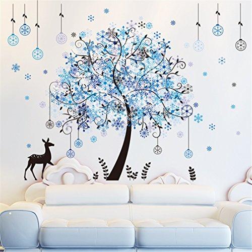 Zrdmn adesivo da parete le pareti sono decorate alberi di natale sorok fiocco di neve ornamenti appesi blu personalizzati fiocco di neve lin can remove art murales per camera da letto soggiorno bagno