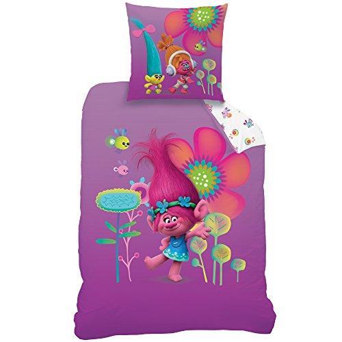 CTI Trolls Poppy Parure de lit, Coton, Violett, 135 x 200 x 80 cm