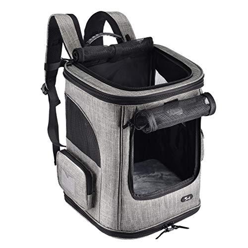 PETTOM Haustier-Rucksack für kleine Hunde und Katzen, weicher Rucksack für den Außenbereich, fest verstärkte Struktur, Zwei Eingänge, einfache Aufbewahrung, Wandern, Reisen, Camping Outdoor