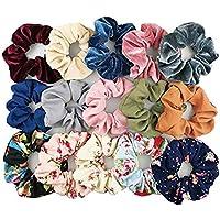 Trendy Club Multicolour Scrunchies, Velvet, Chiffon, Cotton Elastic Hair Bands for Women -15 Pieces