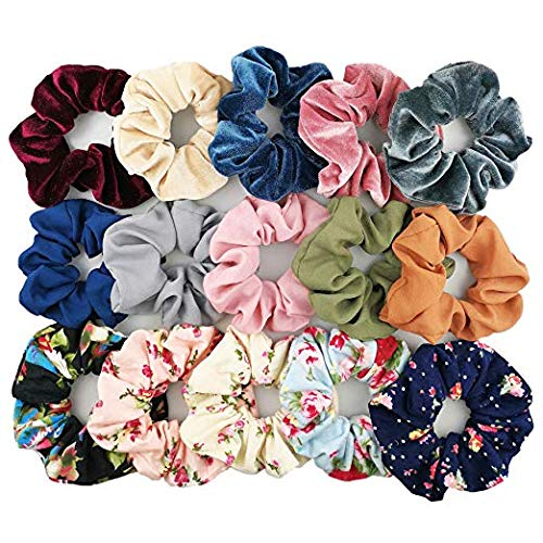 Trendy Club Multicolour Scrunchies, Velvet, Chiffon, Cotton Elastic Hair Bands for Women -15 Pieces