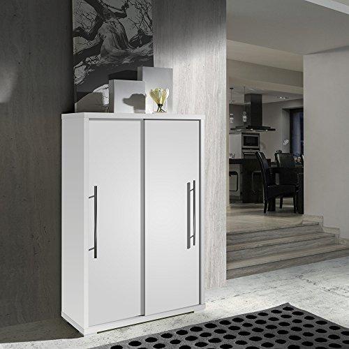 Meuble à chaussures portes coulissantes coloris Blanc, L80 x H121.5 x P35.5 cm ( Livré Monté ) -PEGANE-
