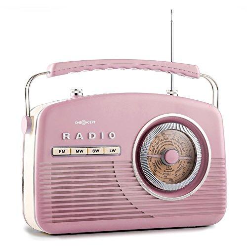 oneConcept NR-12 • Nostalgie Kofferradio • Retro-Radio • 50er Jahre Retro Design • UKW / MW Empfänger • Ton-Einstellung • Teleskopantenne • Netz- / Batterie-Betrieb • portabel • pink