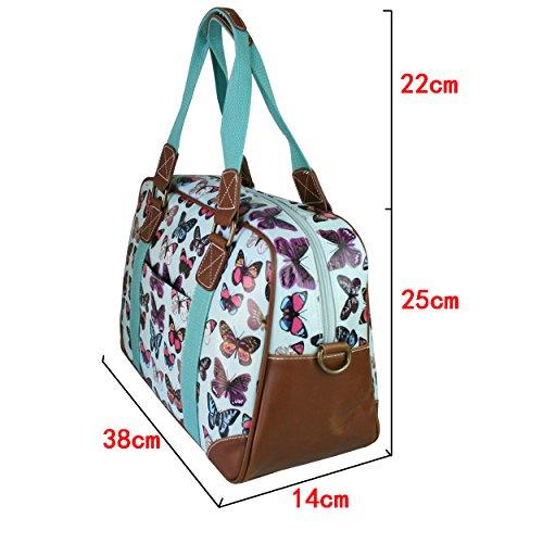 Miss LuLu Modern Schultaschen Cross-Body Tasche Schule Öltuch Handbag Wasserdicht Damen L1106-Schmetterling/Rosa