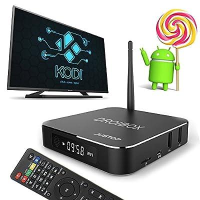 JUSTOP ® T9 Android TV Box 5.1 Lollipop KODI Fully Loaded TV Box Amlogic S905 64-Bit 2.0GHz x4 Quad Core H.265 4K Ultra HD HDMI Out WI-FI Bluetooth 4.0