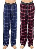Uomo 2 100 pezzi % cotone flanella quadri Pigiama Pantaloni da CASA LUNGO CON CALZINI abito - BLU / Rosso, X-Large