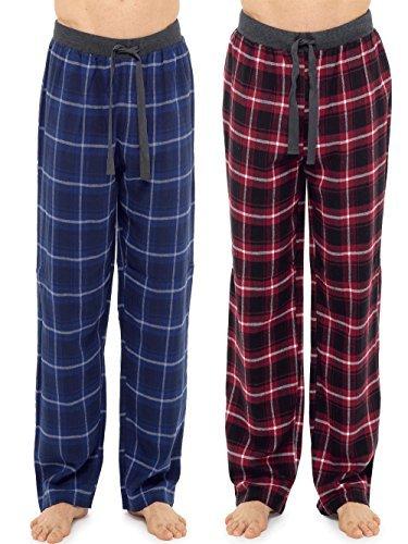 Hombre 2 Paquete 100% Algodón a Cuadros Pijama Pantalones de andar por casa Pantalones Con Calcetines - Azul/Rojo, Medium