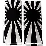 Japón matrícula adhesivo insignia Japón bandera del sol naciente Blanco y Negro 3d Resina y Gel Domed