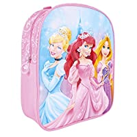PERLETTI - Disney Princesses Girls Backpack - Cinderella Ariel Bright Print - Small School Bag for Elementary and Kindergarten - Adjustable Shoulder Straps - 31x25x10 cm - Pink