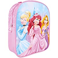 Disney Princesses Backpack for little Girl - Pink School Bag with Cinderella Ariel bright print - Small backpack for school and kindergarten with adjustable shoulder straps - 31x25x10 cm - Perletti