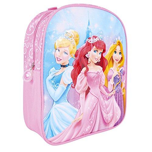 Mädchen Disney Prinzessinnen - Schulranzen mit Arielle Rapunzel - Schulrucksack für Schule und Kindergarten mit Verstellbaren Schulterriemen - Rosa - Perletti - 31x25x10cm ()