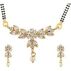 Archi Collection Gold Plated American Diamond Traditional Mangalsutra Pendant with Chain and Earrings for Women