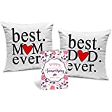 Tied Ribbons Gift for Dad and Mom Set of 2 Printed Cushion (12 inch X 12 inch, Multicolor) with Inner Filler and Greeting Card