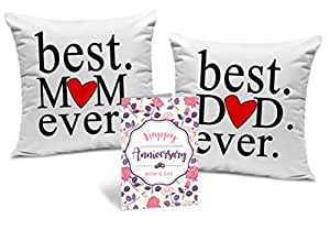 Tied Ribbons Gift For Dad And Mom Set Of 2 Printed Cushion(12 Inch X 12 Inch,Multicolor) With Inner Filler And Greeting Card