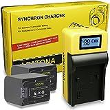 LCD Chargeur + 2x Premium Batterie NP-FV70 pour Sony DCR-DVD110E   DCR-DVD910E   DCR-SR87E   DCR-SX50E   HDR-CX106E   HDR CX410VE   HDR-PJ10E   HDR-XR350E   Sony DEV-3   Sony NEX-VG10   NEX-VG20