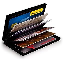 MyGadget Billetera de Aluminio con Bloqueo RFID NFC para Tajetas de Crédito Slim - Cartera Tarjetero de Metal con 6 Compartimientos para Hombre Mujer - Negro