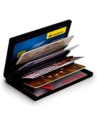 MyGadget Billetera de Aluminio con Bloqueo RFID NFC para Tajetas de Crédito Slim - Cartera Tarjetero de Metal con 6 Compartimientos para Mujer u Hombre - Negro