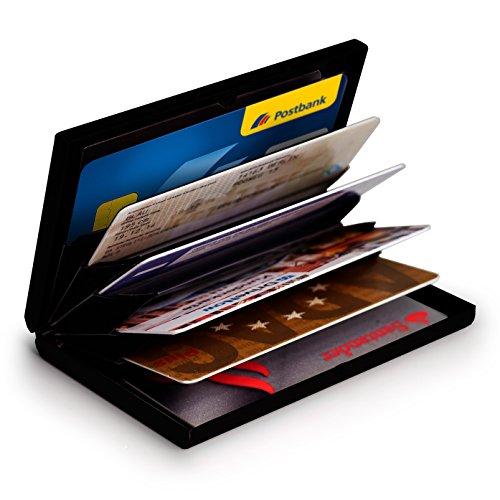 MyGadget Billetera de Aluminio con Bloqueo RFID NFC para Tarjetas de Crédito Slim Cartera Tarjetero de Metal con 6 Compartimientos para Hombre Mujer - Negro