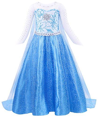 Amzbarley vestito da principessa delle ragazze regina delle nevi elsa costume manica lunga festa di fantasia vestire con brillante mantellina per bambini (3-4 anni, blu 2)