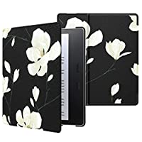 MoKo Case Fits All-New Kindle Oasis (9th and 10th Generation, 2017 and 2019 Release) ONLY, Classy Look Lightweight Abrasion-resistant Leather Cover Shell with Smart Wake/Sleep - Black & White Magnolia
