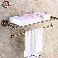 KHSKX Rame antico bagno mensola porta asciugamani da bagno doppio