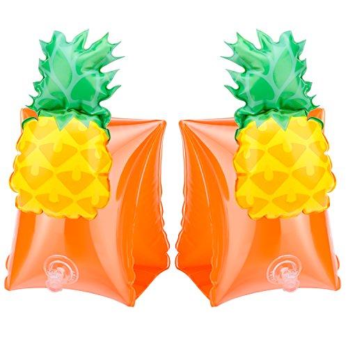 HeySplash Schwimmflüge Schwimmscheiben für Kinder Schwimmen Lernen Armbands Flotation Aufblasbare Arm Bands, Ananas Orange