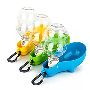 Foldable Dog Water Bottle Dispenser for Travel, Food Grade Material No Spill Drinking Fountain for Pet / Cat, Green