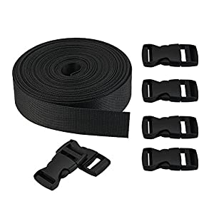Golrisen Webbing Straps Nylon 10 Yards Flat Side Release with 6 Pairs Buckles Heavy Strap for DIY Making Luggage Strap Binding Sundries Cartons Books