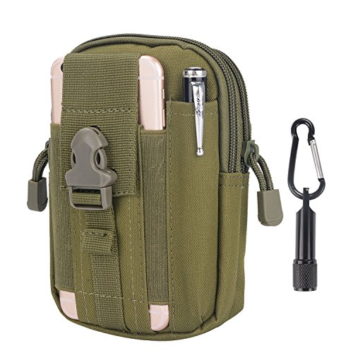 Taktische Tasche - Sahara Sailor Molle Tasche Hüfttaschen EDC Nylon Gürteltasche für Wandern, Outdoor-Camping und Radfahren mit Aluminiumkarabiner Bonus in Form eines mini taschenlampe Olivgrün