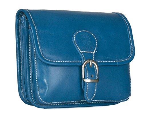 BHBS Damen klein Handtasche aus echtem Leder Umhängetasche Überqueren Sie Körper Beutel 15.5 x 17 x 5.5 cm (B x H x T) Light Teal