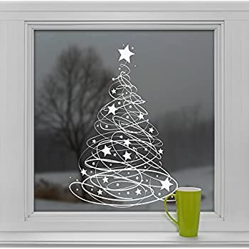 Star tree with stars window cling stickers seasonal for 6 star window christmas decoration lights