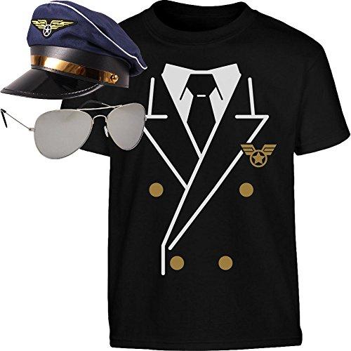 l Kostüm Shirt + Brille + Hut Kinder T-Shirt 7-8 Jahre (128cm) Schwarz ()