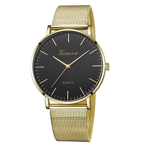 LSAltd Unisex Neue Luxusuhr Frauen Männer Klassische Edelstahlband Uhr Quarz Analog Armbanduhr Große Armband Schmuck (E)