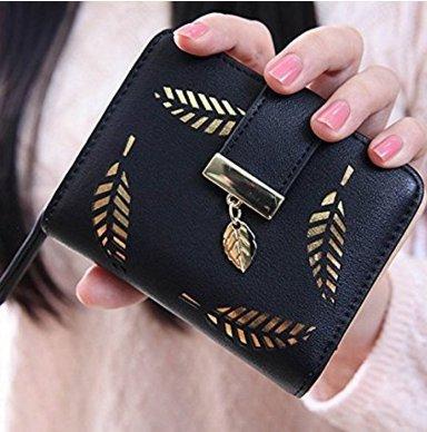 Neue Art und Weise weibliche Portemonnaie kurzer Koedu Punkt Hohle Goldblatt Kleine Geldbeutel Große Kapazität Wallets (black )